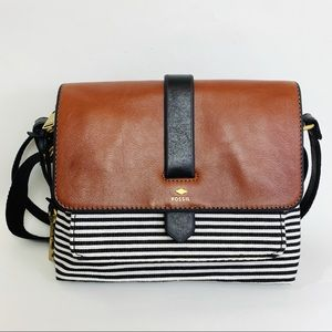Fossil Kinley Clean Stripe Brown Crossbody Bag